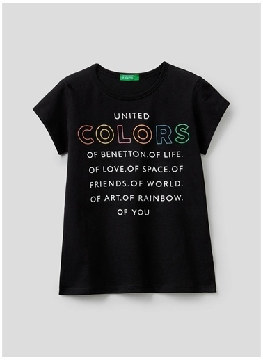 Benetton Benetton 322113096C1539 Baskılı Kadın T-Shirt Siyah